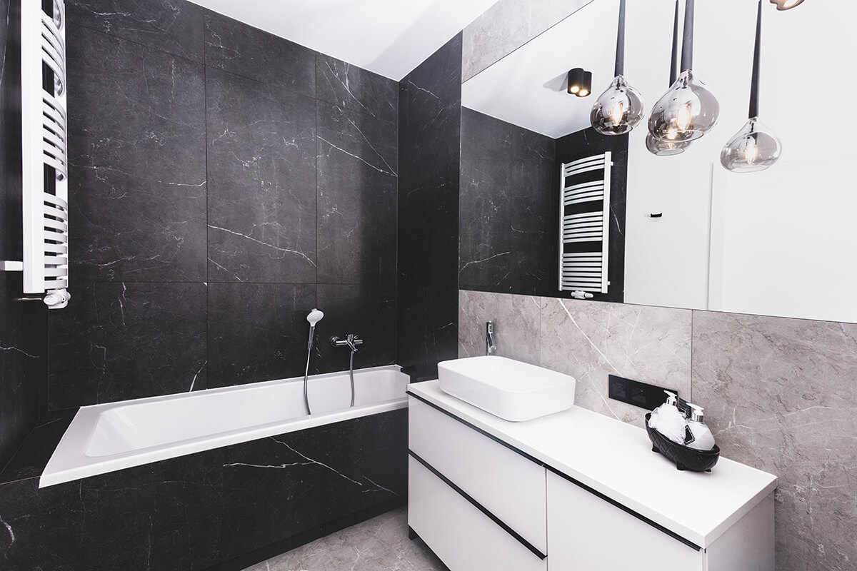 Modern new luxury bathroom. Interior design in black and white style