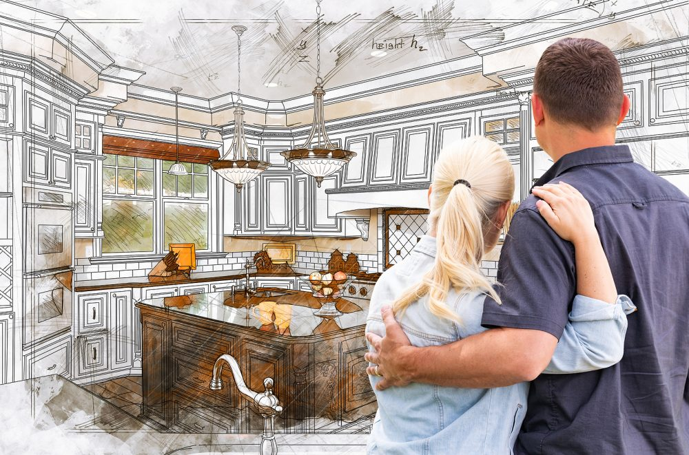 couple looking at beautiful kitchen remodel by Jericho
