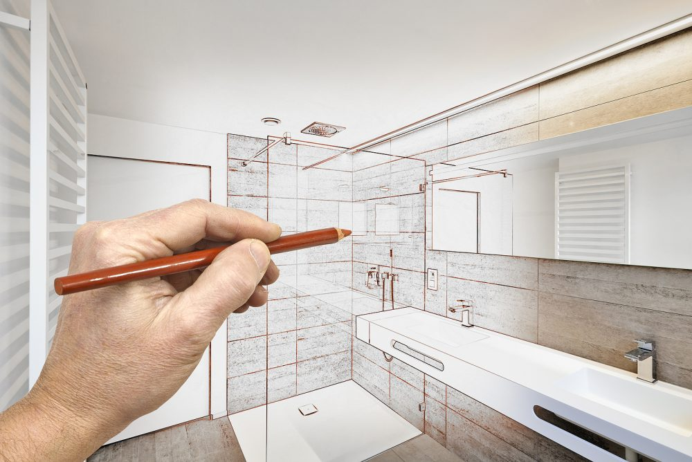 Hand drawing a beautiful luxurious bathroom
