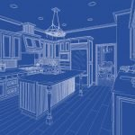 blueprint of kitchen designed using product samples from Jericho